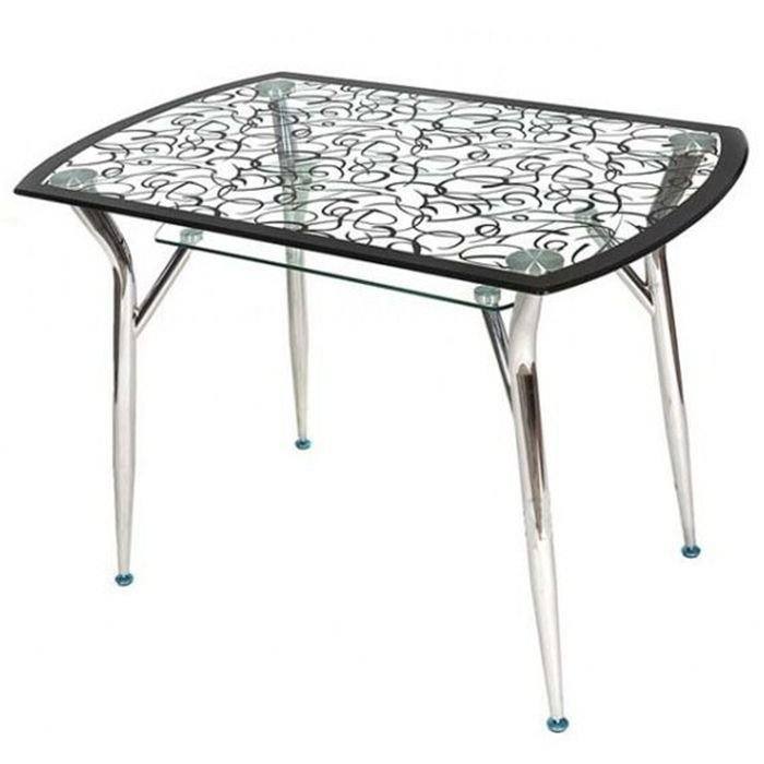 Стеклянный стол с рисунком на кухню